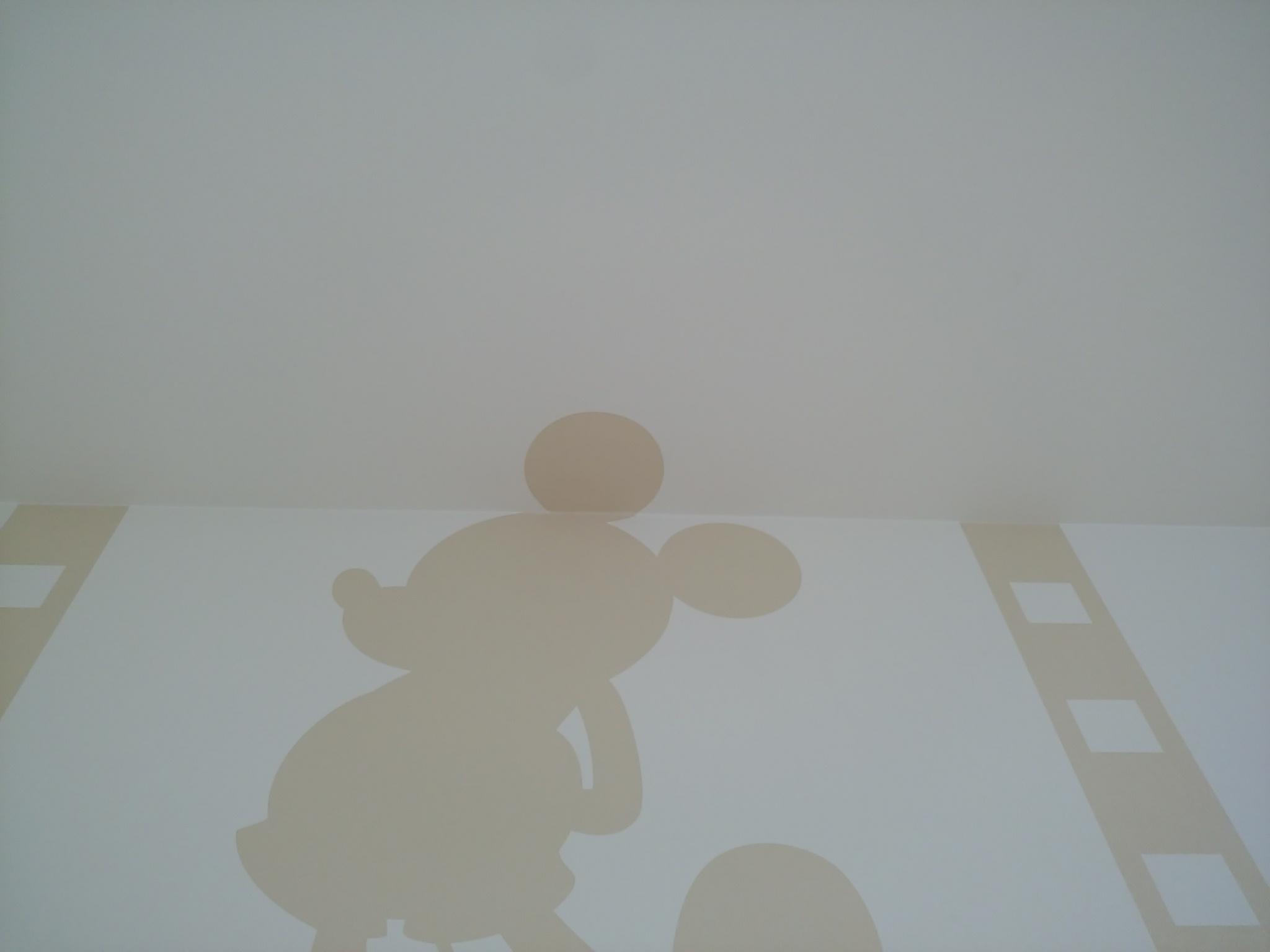 壁に入らないミッキーの耳は、天井に!